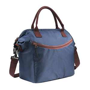 """Idefair Lunch Bag, Insulated Lunch Bag for Women & Men, Lunch Box with Adjustable Shoulder Strap for Work, School, 12.2"""" x 6.88"""" x 11.22"""", Blue"""