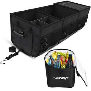 OEDRO Car Trunk Organizer, Collapsible Portable Black Large Foldable Cargo Storage with Removable Cooler Compatible for SUV Truck Sedan, Adjustable Straps (3 compartments)