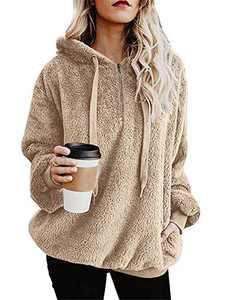 onlypuff Fleece Sweatshirt Khaki Sherpa Pullover Womens Hoodies Slouchy Pocket M