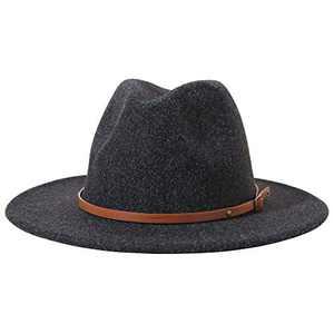 Lanzom Women Lady Felt Fedora Hat Wide Brim Wool Panama Hats with Band (E-Black New)