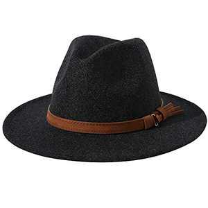 Lanzom Women Lady Felt Fedora Hat Wide Brim Wool Panama Hats with Band(01-Black)