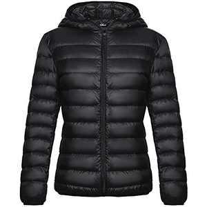 Women Down Jacket with Hood Packable Ultra Lightweight Outwear Short Puffer Coat Black M