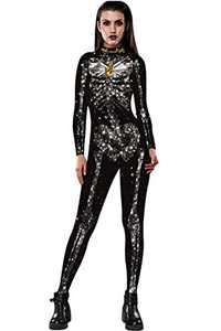 Selatamy Women's Halloween Cosplay Skull Skeleton Printed Costumes Jumpsuit Bodysuit One-Piece Catsuit (Gold, Medium)
