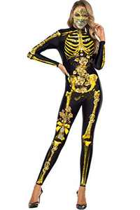 Selatamy Women's Halloween Cosplay Skull Skeleton Printed Costumes Jumpsuit Bodysuit One-Piece Catsuit (Gold Skeleton, X-Large)