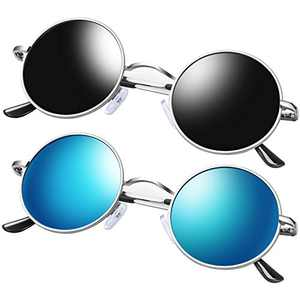 KANASTAL Polarized Small Round Sunglasses Hippie Style, Vintage John Lennon Sunglasses Silver Metal Frame Mirrored Flat Lens (2 Pack Black and Blue)