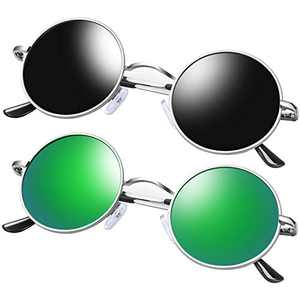 KANASTAL Polarized Small Round Sunglasses Hippie Style, Vintage John Lennon Sunglasses Silver Metal Frame Mirrored Flat Lens (2 Pack Black and Green)