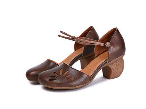 Dwarves Handmade Genuine Leather Cowhide Women's Mary Jane Shoe Brown