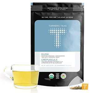 Turmeric Teas DUSK - Calming Organic Turmeric Lemongrass Tea, 30 Compostable Pyramid Tea Bags of Anti-inflammatory Tea to aid Digestion & Relaxation - Herbal, Non-GMO, Sugar Free, Whole30 Approved