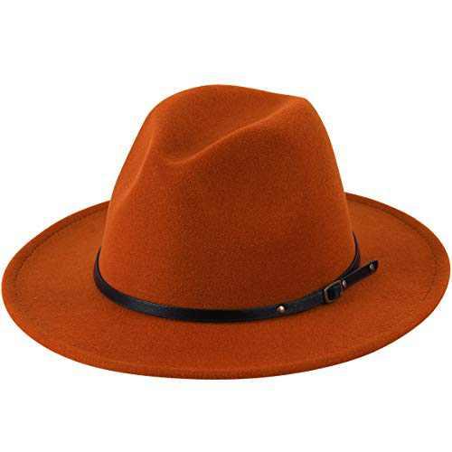 Lanzom Womens Classic Wide Brim Floppy Panama Hat Belt Buckle Wool Fedora Hat (One Size, Caramel)