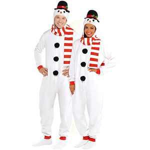 Wizland Adult Snowman Onesie Men's and Women's Matching Pajamas, Adult Snowman Xmas Costume (S/M)