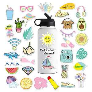Cute VSCO Stickers for Water Bottles, Big 35-Pack Hydro Flask Waterproof Vinyl Stickers Aesthetic Laptop Stickers Luggage Skateboard Guitar Bicycle iPhone iPad Decals for Teen Girls (35 pcs)