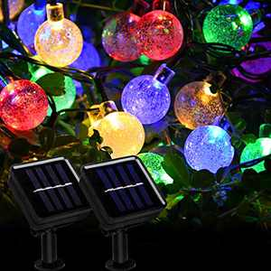 Beinhome 2 Pack Solar Globe String Lights 30 LED 21.3Ft 8 Modes Waterproof Colorful Solar Fairy Lights Outdoor Decorative for Garden, Patio, Yard Decoration