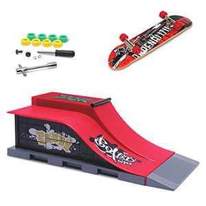 MOMSIV Finger Skateboard Park Ramp Toys Mini Fingerboard Skate Rail Set, Half Pipe Finger Skateboards Kit, Ultimate Skateparks Training Props for Kids & Adult (Style E)