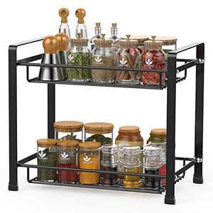 Spice Rack, Cambond Spice Organizer Seasoning Organizer Kitchen Bathroom Counter Organizer 2-Tier Standing Rack, Black