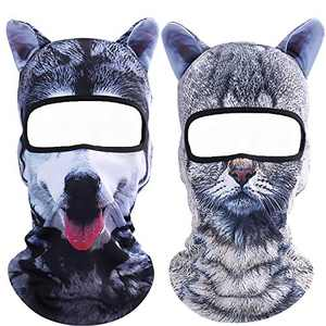 Koolip Cat Balaclava,Dog Balaclava,Halloween Hat,Cute Full Face Hood Mask Animal Ski Mask for Hiking Riding Sports Outdoor (2Pack-06+09)