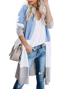 Womens Soft Boho Open Front Colorblock Cardigan Long Sleeve Loose Cute Knit Sweaters Blue S