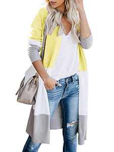 Womens Soft Boho Open Front Colorblock Cardigan Long Sleeve Loose Cute Knit Sweaters Yellow S