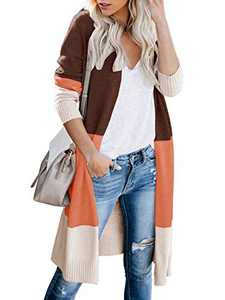 Womens Soft Boho Open Front Colorblock Cardigan Long Sleeve Loose Cute Knit Sweaters Brown S