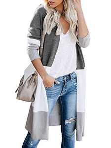 Womens Soft Boho Open Front Colorblock Cardigan Long Sleeve Loose Cute Knit Sweaters Gray XL