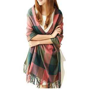 Women's Fall Winter Long Fringed Plaid Shawl Big Grid Warm Scarf Lattice Large Scarves (E)