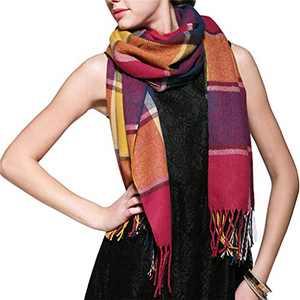 Women's Fall Winter Long Fringed Plaid Shawl Big Grid Warm Scarf Lattice Large Scarves (C)
