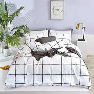 Wellboo White Plaid Comforter Sets Grid Checkered Queen Beddings Cotton Big Large Buffalo Plaid Quilts Reversible Black and White Geometric Comforter Women Men Teens Modern Gingham Comforter Soft Warm