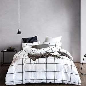 Wellboo White Plaid Comforter Sets Grid Checkered Twin Beddings Cotton Big Large Buffalo Plaid Quilts Reversible Black and White Geometric Comforter Women Men Teens Modern Gingham Comforters Soft Warm
