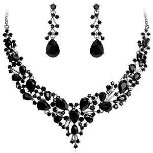 LILIE&WHITE Austrian Crystal Bridemaid Jewelry Sets Wedding Accessories Bride Necklace And Earrings Sets For Women Jet