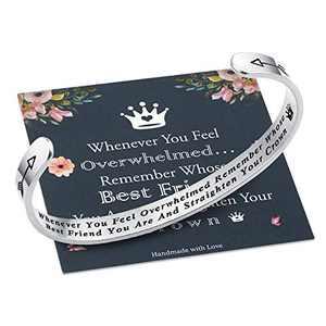 M MOOHAM Whenever You Feel Overwhelmed Remember Whose Best Friend Bracelet Straighten Your Crown Bracelet, Friendship Bracelet Friend Gifts Engraved Inspirational Quote Bracelet for Women Birthday