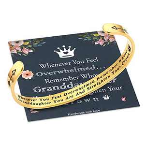 Whenever You Feel Overwhelmed Remember Whose Granddaughter Straighten Your Crown Bracelet, Granddaughter Gifts Jewelry Bracelet from Grandma Grandpa Grandparents, Gifts for Granddaughter Birthday