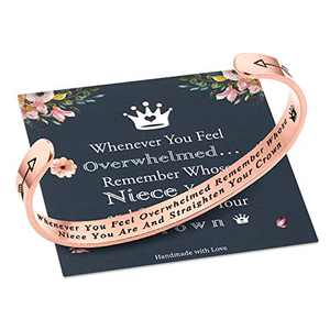 Whenever You Feel Overwhelmed Remember Whose Niece Bracelet Straighten Your Crown Bracelet, Niece Bracelet Gifts from Aunt Stainless Steel Engraved Inspirational Bracelet (Nice Crown Bracelet)