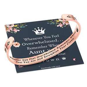 M MOOHAM Whenever You Feel Overwhelmed Remember Whose Aunt Bracelet Straighten Your Crown Bracelet, Rose Gold Inspirational Bracelet Aunt Gifts Bracelet from Niece and Nephew (Aunt Crown Bracelet)