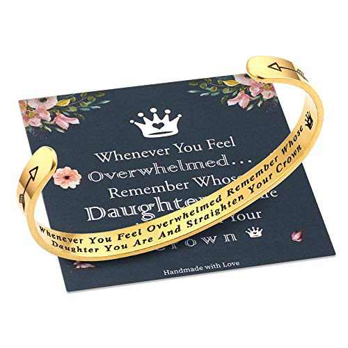 Whenever You Feel Overwhelmed Remember Whose Daughter Straighten Your Crown Bracelet, Daughter Gifts Bracelet from Mom Dad, Gifts for Daughter Daughter in Law Birthday Inspirational Bracelet