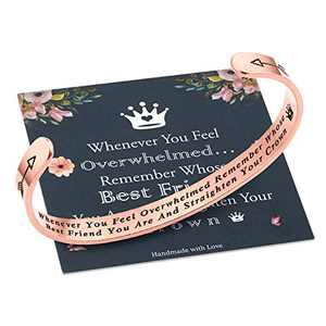 M MOOHAM Whenever You Feel Overwhelmed Remember Whose Best Friend Bracelet Straighten Your Crown Bracelet, Friendship Bracelet Friend Gifts Engraved Inspirational Quote Rose Gold Bracelet for Women
