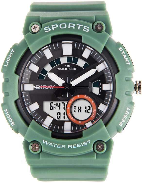 DIRAY Men's Digital Watch Dual Time Waterproof Outdoor Multifunction Sport Wrist Watches