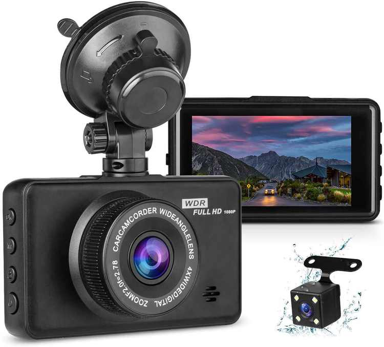 """Dash Cam with Reversing Camera, 1080P FHD Dash Cam Front and Rear Camera 3""""IPS Screen 170°Wide Angle DVR Car Camera Front and Rear,Loop Recording Car Dash Cam G-sensor Motion Detection Parking Monitor"""