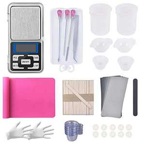 130PCS Resin Starter Kit with Silicone Mixing Cups,Silicone Measuring Cups£¬Sticks,Silicone Mat,Scale,Sandpaper,Finger Cots,Stirring Needle Spoon Tool Set for Resin Art (Pink)