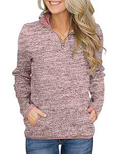Women Solid Color Zip Up V Neck Pocket Pullover Casual Long Sleeve Tops Loose Fit Sweatshirt Pink XXL
