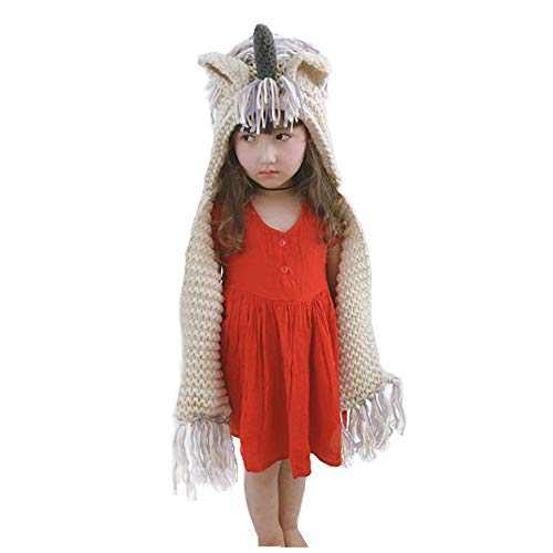 Kids Unicorn Hat Winter Warm Crochet Knitting Scarf with Pocket Hooded Beanies Animal Hats Cosplay Photography Cap (Purple, Small)