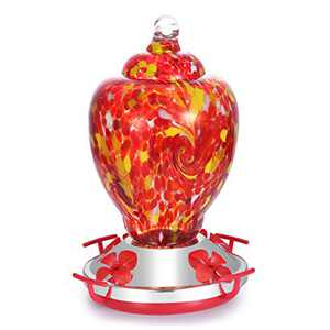 HAPITO Hummingbird Feeder for Outdoors - Hand Blown Glass, 26 Ounces Nectar Capacity, No Leaking / Rustless, Containing Ant Moat, Metal Hook, Hemp Rope and Brush