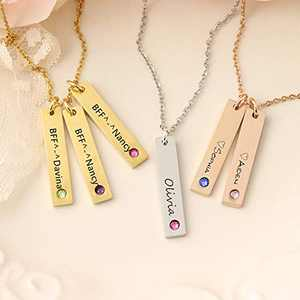 Personalized Bar Necklace with Birthstone, Sterling Silver Customized Engraved 3 Name Necklace Charm Handmade Anniversary Jewelry for Grandma, Best Friend
