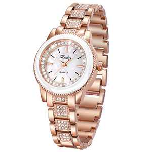 SIBOSUN Ladies Wrist Watch Women Crystal Stainless Steel Band Quartz Diamond Fashion + Cuff Bracelet Jewelry Set Classic Romantic Gift (Rose Gold)