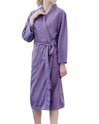 SUNNYME Women Kimono Robes Soft Knit Short Robe Bathrobe Sleepwear Ladies Loungewear B-Purple M