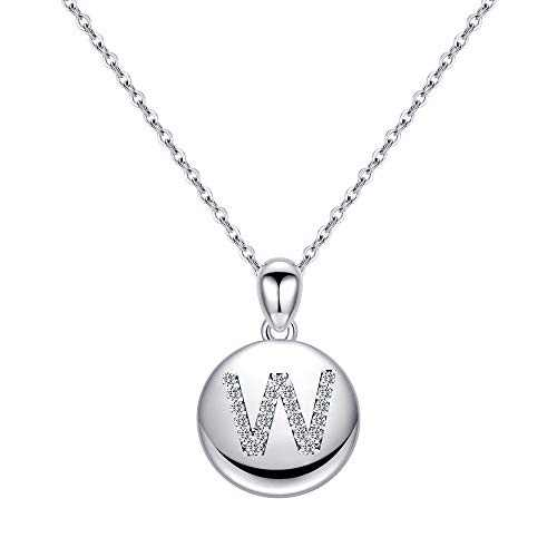 Turandoss W Initial Necklace for Sister, Disc Pendant Letter Necklace Dainty Initial Necklace Girls Teens Jewelry Alphabet Initial Necklaces for Sister