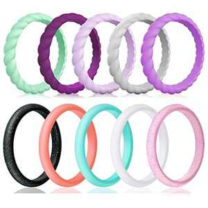 Silicone Wedding Ring for Women,10-Packs Thin and Stackable Braided Rubber Wedding Bands Silicone Rings for Women, Her, Couples, Outdoor Active Exercise Style