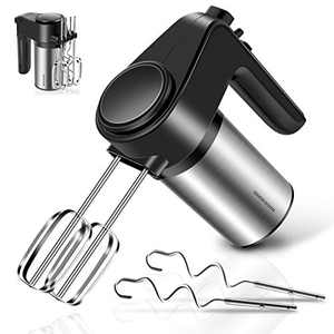 REDMOND Hand Mixer, 6-Speed Electric Hand Mixer with Turbo Handheld Kitchen Mixer Includes Beaters, Dough Hooks and Storage Bracket, Black, HM012