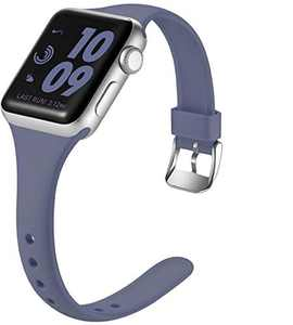 Laffav Slim Band Compatible with Apple Watch 40mm 38mm for Women Men, Soft Silicone Narrow Thin Sport Replacement Strap for iWatch SE & Series 6 & Series 5 4 3 2 1 (Blue Gray, 38mm/40mm M/L)