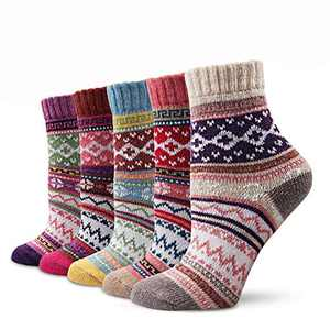 REOVE 5 Pairs Women Warm Winter Wool Socks Cozy Soft Vintage Knit Socks Holiday Boot Socks (Vintage)