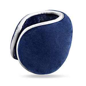 Foldable Blue Ear Warmers for Men Women Z-Dear Polar Fleece Winter Earmuffs, Behind the Head Winter Ear Warmers, Luminous Winter Earmuffs