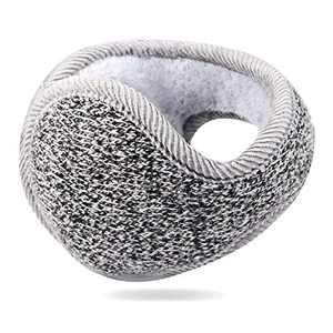 Foldable Ear Warmers for Men Women Z-Dear Black Polar Knit Winter Earmuffs, Behind the Head Winter Ear Warmers